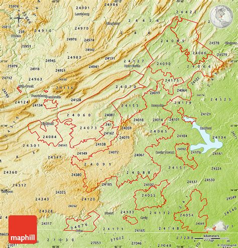 physical map of virginia physical map of zip codes starting with 240