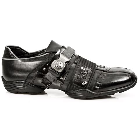 m 8147 s1 new rock black shoes with metal detail on the buckle