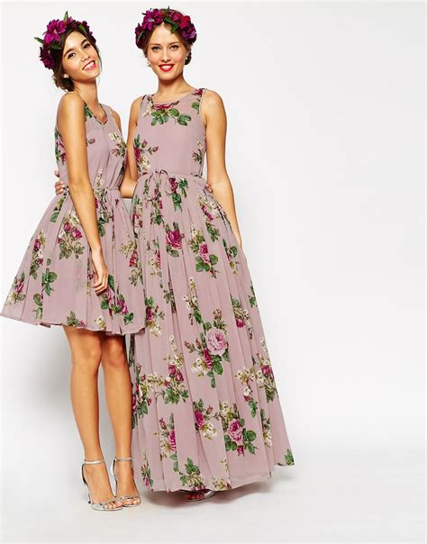 are maxi dresses ok for weddings lyst asos wedding lilac floral super full maxi dress