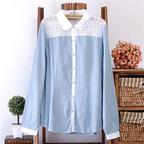 Lace Polka Denim Shirt light denim blue shirt polka dots crochet lace mesh grxjy560896 on luulla