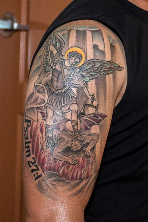 st michael slaying the devil tattoo picture at