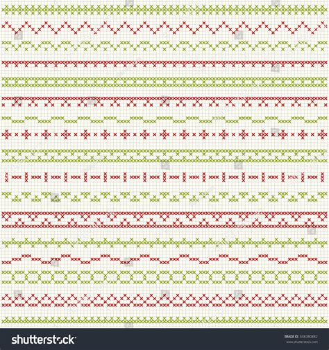 Hem Bordier To54 set of cross stitch pattern for thin borders geometric frames for cross stitch embroidery in