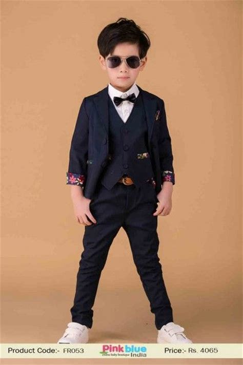 Kids New Arrivals 2015   Baby Boy Party Wear Suits, 3 Piece Formal Outfit, Navy Blue Birthday