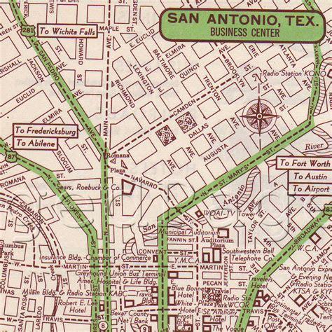 san texas map san antonio texas map print 1951 us city map by agedpage