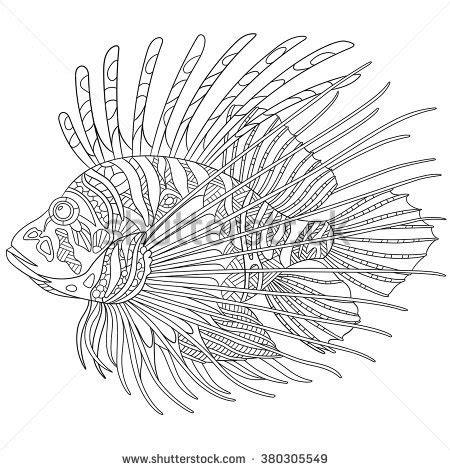 zebrafish coloring page zentangle stylized cartoon zebrafish lionfishpterois