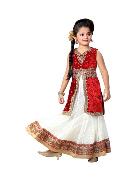 lovely white lovely white red net readymade kids long choli lehenga