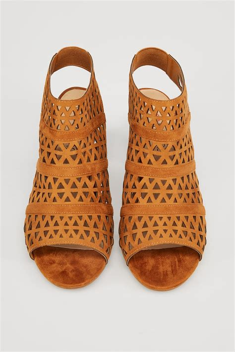Finish Line Gift Card Codes - tan brown laser cut sandals with block heel in true eee fit sizes 4eee to 10eee