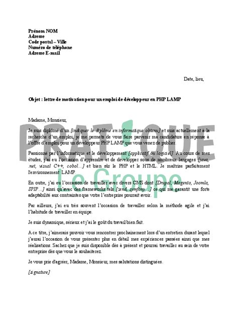 Exemple De Lettre De Motivation Et Pretention Salariale Pdf Modele Lettre De Motivation De Developpeur Web