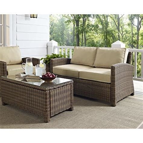 patio furniture bradenton crosley bradenton outdoor wicker loveseat with sand