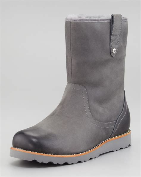 mens shearling boots ugg stoneman shearling boot in gray for lyst