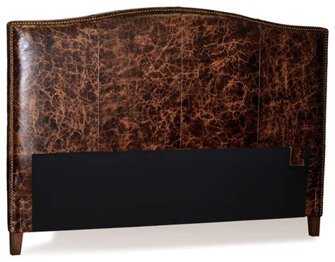 Leather Headboard King World Brown Leather Headboard For Bed With Brass Nail Trim King Transitional