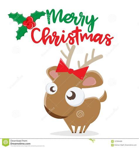 merry christmas reindeer clipart stock vector illustration  gift card