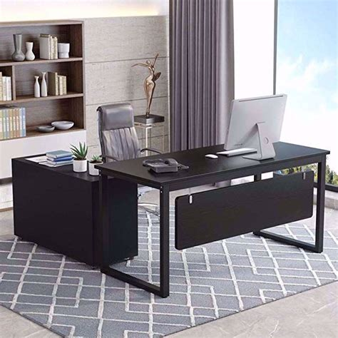 tribesigns  shaped computer desk   large modern