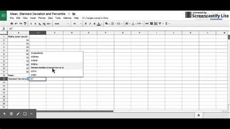 standard deviation  percentile  google sheet