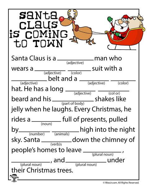 printable christmas mad libs santa claus is coming to town mad libs woo jr kids