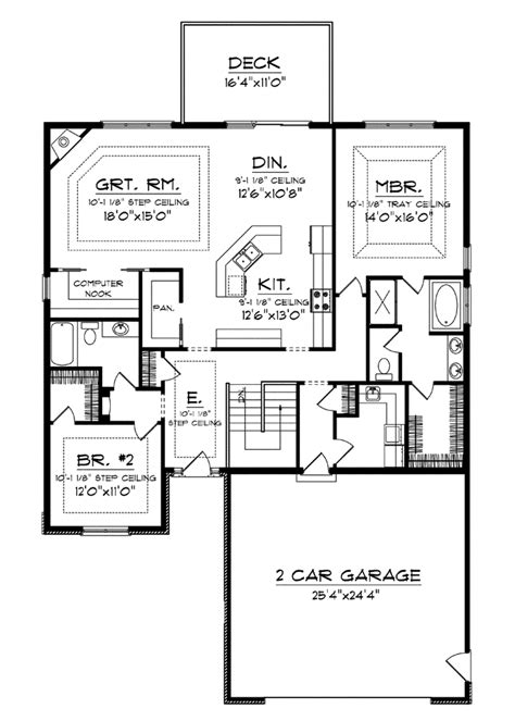 house plans with large kitchens computer nook and big kitchen island hwbdo76021 ranch