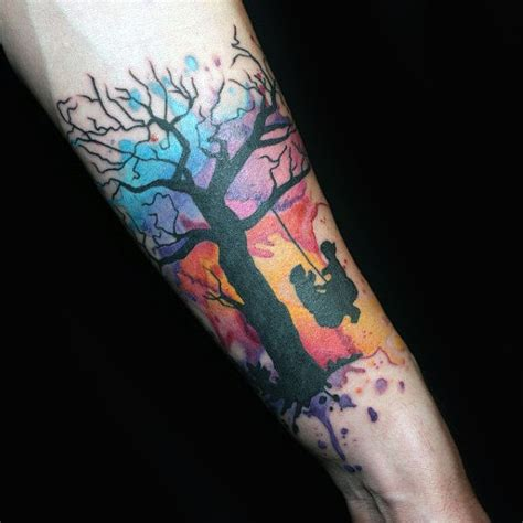 watercolor tattoos for guys 70 watercolor tree designs for manly nature ideas