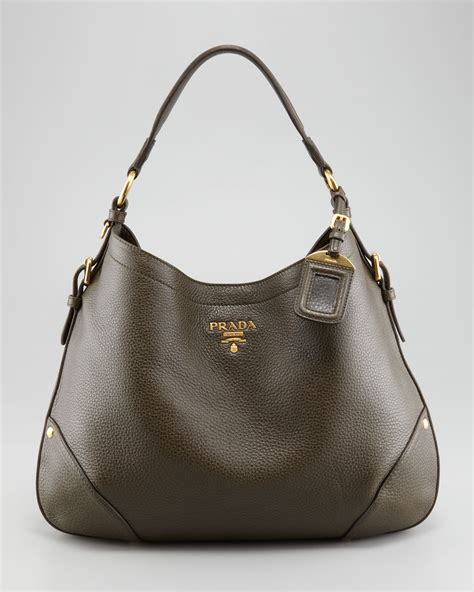 Prada Crispy Hobo Handbag by Lyst Prada Vitello Daino Snap Hobo Bag In Brown