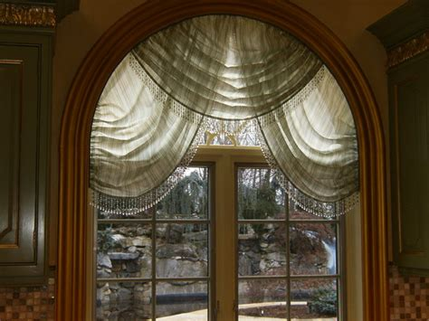 window treatment for curved window arched swags