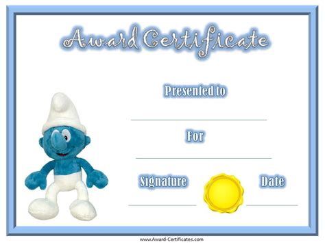 smurf award certificate certificates for kids