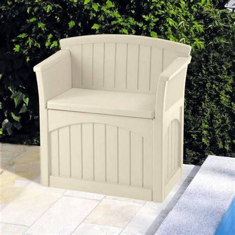 patio storage seat suncast patio storage seat 117l garden