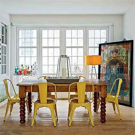 Yellow Dining Table And Chairs Yellow Tolix Chairs Farm Table Dining Room Metal Chairs Window And Farms