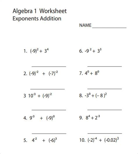 College Algebra Worksheet Templates Download Free Math Templates Free