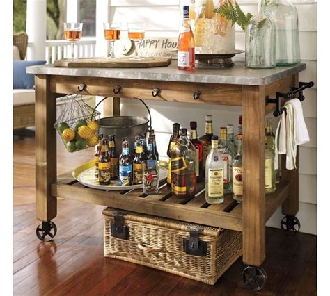 abbott zinc top kitchen island bar or potting table for