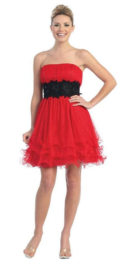 Cto Hem Hosana White white black poofy a line dress strapless ruffled hem discountdressshop