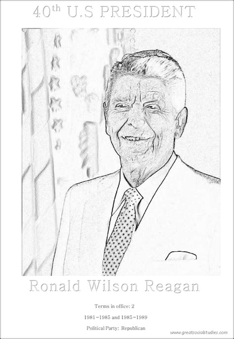 40th us president ronald wilson reagan free activity