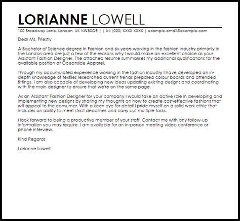 Assistant Fashion Designer Cover Letter Sample Livecareer
