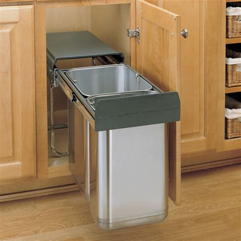 under cabinet trash bins rev a shelf stainless steel base pull out waste