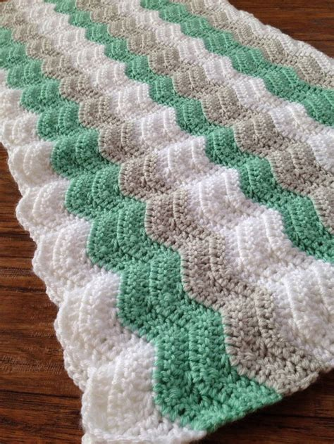 neutral ripple afghan allfreecrochetafghanpatterns com crochet baby blanket sea foam mint gray and white baby