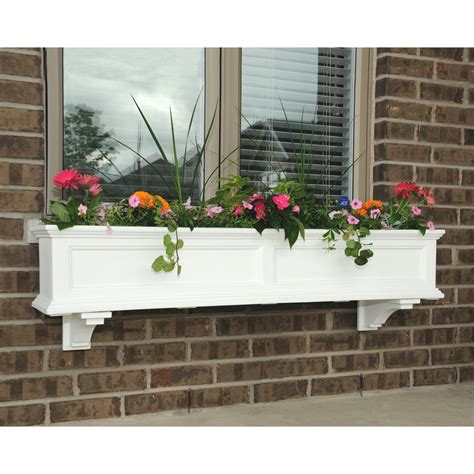 vinyl window flower boxes mayne 48 inch rectangle polyethylene fairfield window box
