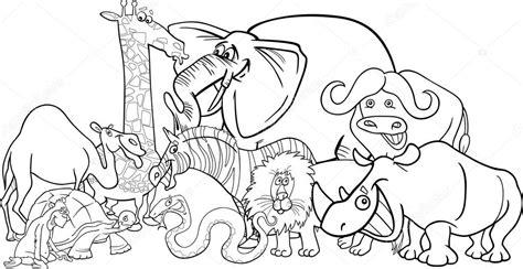 safari person coloring page african safari animals cartoon for coloring stock vector
