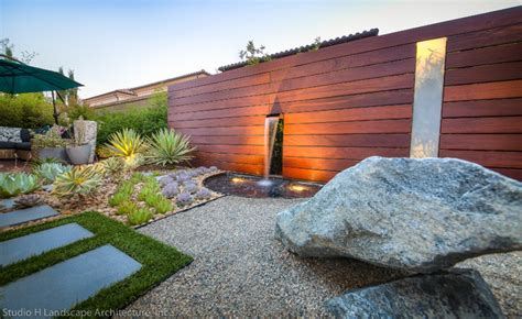 Unique Modern Water Feature & Garden Light Design   Contemporary   Landscape   Orange County
