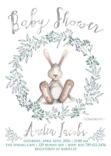 Rabbit Baby Shower Invitations by Bunny Baby Shower Invitation Printable Bunny Rabbit