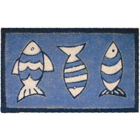 Fish Doormat three blue fish coconut fiber doormat