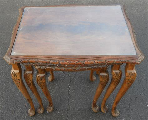 Nest Of Glass Coffee Tables Nest Of Three Mahogany Glass Top Coffee Tables