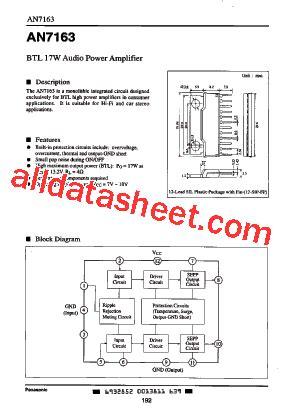 An7163 Btl 17w Audio Power Lifier an7163 fiche technique pdf panasonic semiconductor