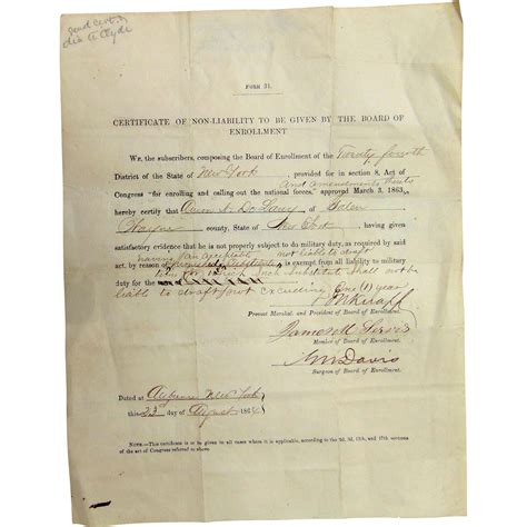 York County Civil Search Civil War Certificate Of Non Liability To Serve Galen Wayne From