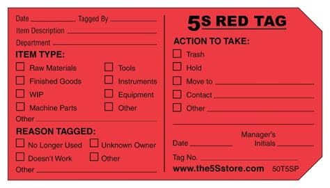 Tip For A Successful Red Tag Program 5s Best Practices 5s Tag Template