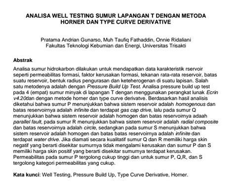 analisa  testing sumur lapangan   metoda horner