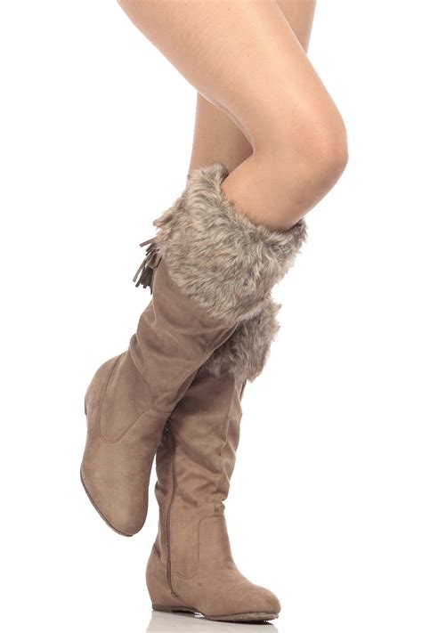 taupe faux suede knee high faux fur boots cicihot boots