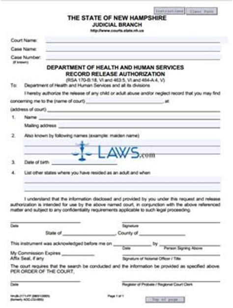 State Of New Hshire Criminal Record Release Authorization Form Department Of Health And Human Services Record Release Authorization New Hshire