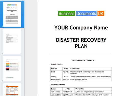 Disaster Recovery Principal Plan Template Business Continuity Planning Cloud Disaster Recovery Plan Template
