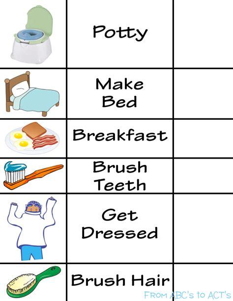 printable toddler morning routine chart printable morning routine visual schedule visual