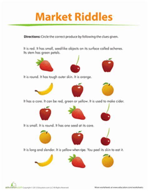 fruit riddles worksheet education com