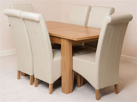 Ivory Dining Table And Chairs Hton Extending Solid Oak Dining Table And 6 Ivory Leather Chairs Ebay