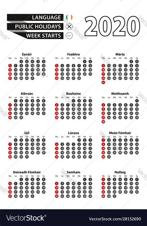 irish calendar   numbers  circles week vector image